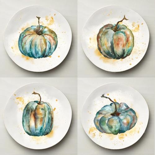 watercolor-teal-pumpkins-set-of-4